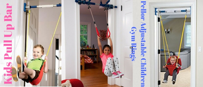 Pellor Adjustable Pull Up Bar Children Gym Rings Kids